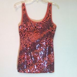 imAginary Voyage Sequined Animal Print Tank Size M